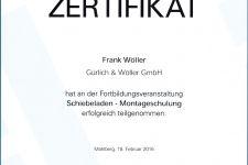 """Ehret Schiebeladenschulung """"Montage"""" 2016 - Hr. Wöller, Frank"""