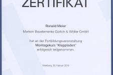 """Ehret Klappladenschulung """"Montage"""" 2019 - Hr. Meier"""