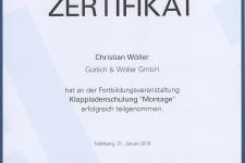 """Ehret Klappladenschulung """"Montage"""" 2018 - Hr. Wöller, Christian"""