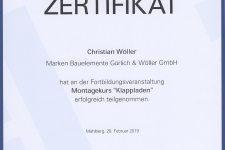 """Ehret Klappladenschulung """"Montage"""" 2019 - Hr. Christian Wöller"""