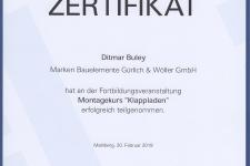 "Ehret Klappladenschulung ""Montage"" 2019 - Hr. Ditmar Buley"