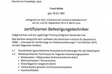 Technische Universität Dortmund - zertifizierter Befestigungstechniker 2014 - Hr. Wöller, Frank