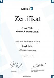 Ehret Zertifikat - Wöller 2013